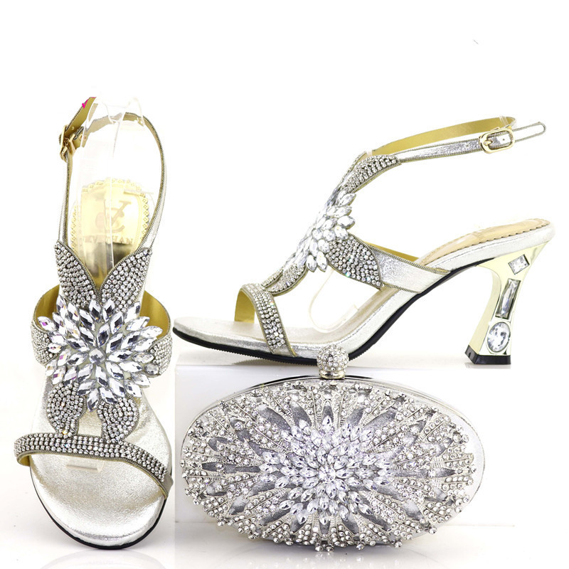 Shinning silver rhinestone sandal shoes and clutches bag african italian  shoes and bag set matching size 37 to 43 SB8267 2-in Women s Pumps from  Shoes on ... d8e0b85a76b4