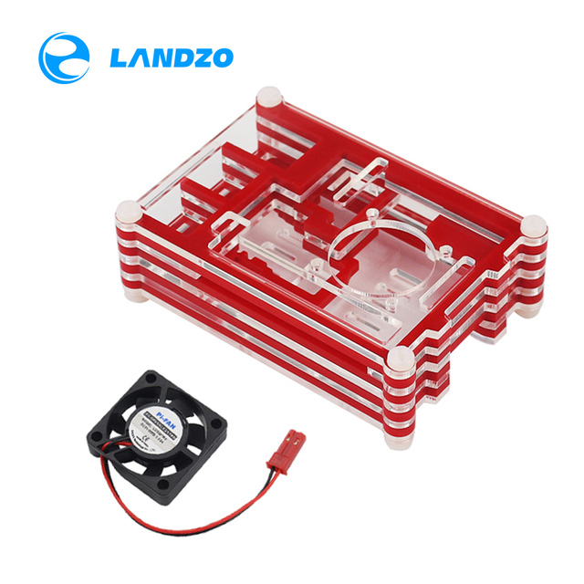 Raspberry Pi 3 Case for Raspberry Pi 3 2 B &Raspberry Pi 3 B+,red Sliced 9 Layers Case Box + Cooling Fan LANDZO