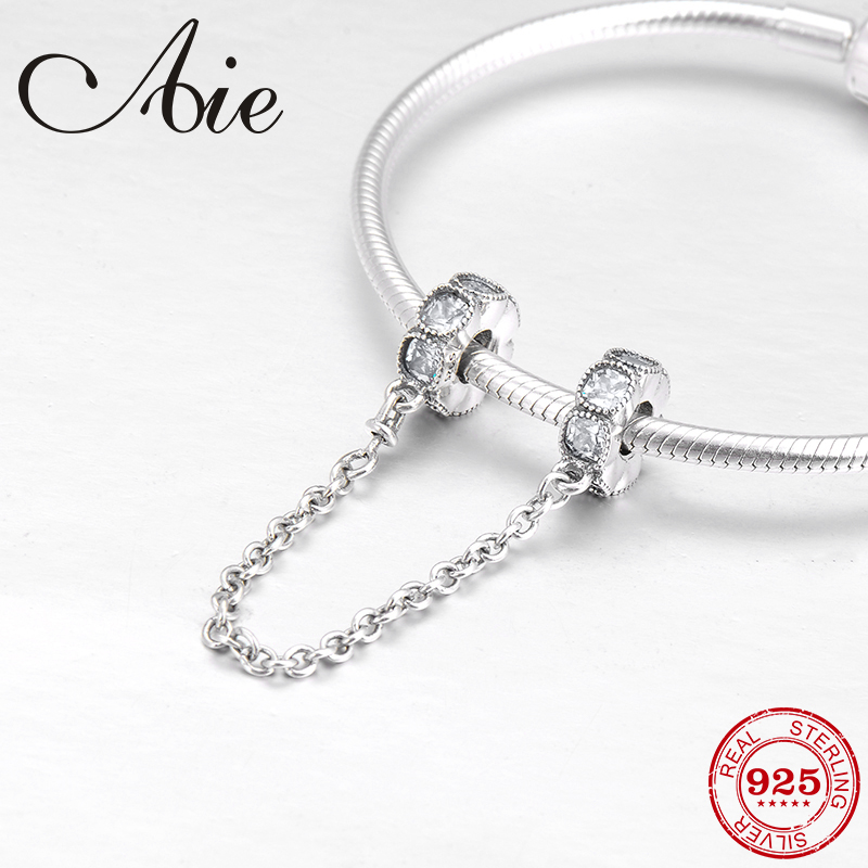 100% Real Sparkling CZ Round 925 Sterling Silver Charms Safety Chain Beads Fit Original Pandora Charms Bracelet Jewelry Making