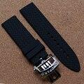 Alta qualidade pulseira de borracha pulseira de relógio automático acessórios pulseira com Folding implantação fecho homens moda faixa de relógio 22 mm