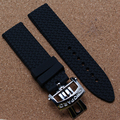 High Quality Rubber Strap Automatic Watch Strap Accessories Watchband With Folding deployment Clasp Fashion men watch band 22mm