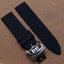 Высокое качество каучуковый ремешок автоматическая ремешок аксессуары ремешок для часов с откидной развертывания застежка мода мужчины часы band 22 мм