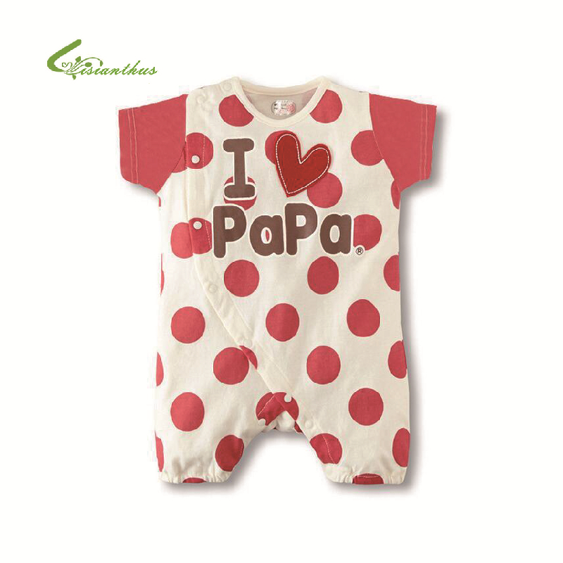 2017 New Summer Babies Boy Girl Romper Cotton Short-sleeved Newborn Baby Clothes Letter I Love Mom I Love Dad Baby Clothing 21 style new 2017 summer 100% cotton ropa bebe newborn baby boys clothing clothes creeper jumpsuit short sleeve romper baby boy