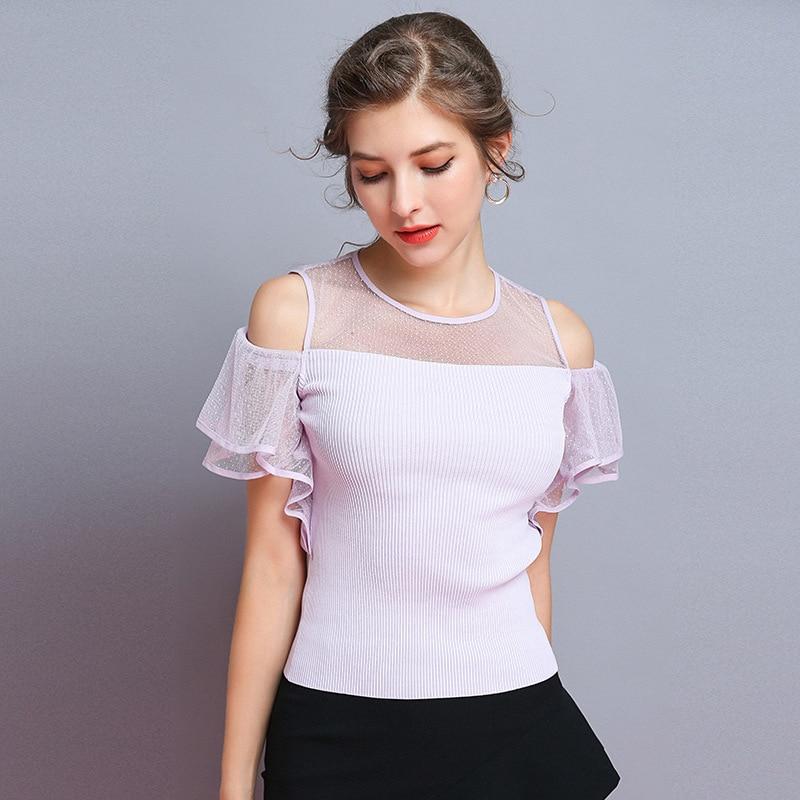 Supérieure Solide Chemises Nouveau blanc shirts Tricoté Femmes Off T Qualité Volants lavande T Maille À Noir Épaule Xiangshi Top Y1wEqBx0q