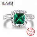 925 Sterling Silver Emerald Rings for Women Engagement Green CZ Diamond Jewelry Finger Wedding Classic Jewelry AR188
