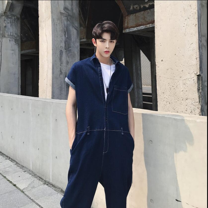 d7554d72027 18 summer designer denim one piece overalls men s large size casual tooling  short sleeved jumpsuit tide male hairstylist jeans -in Jeans from Men s  Clothing ...