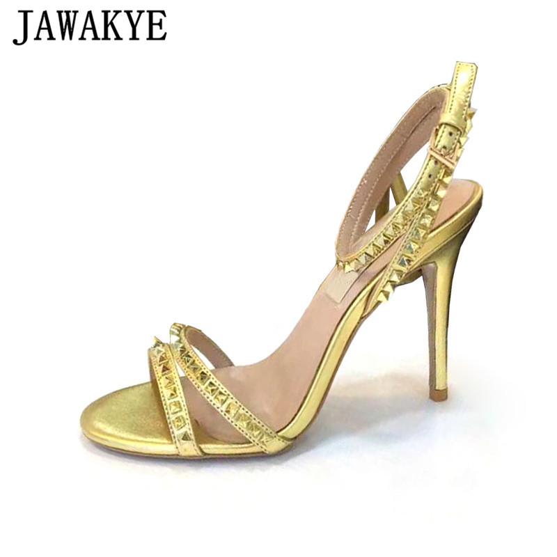 Runway Genuine Leather Rivets Studded Sandals Women 10 CM High Heels Strappy Sandal Buckle Strap Summer Sexy Party Shoes Woman Runway Genuine Leather Rivets Studded Sandals Women 10 CM High Heels Strappy Sandal Buckle Strap Summer Sexy Party Shoes Woman