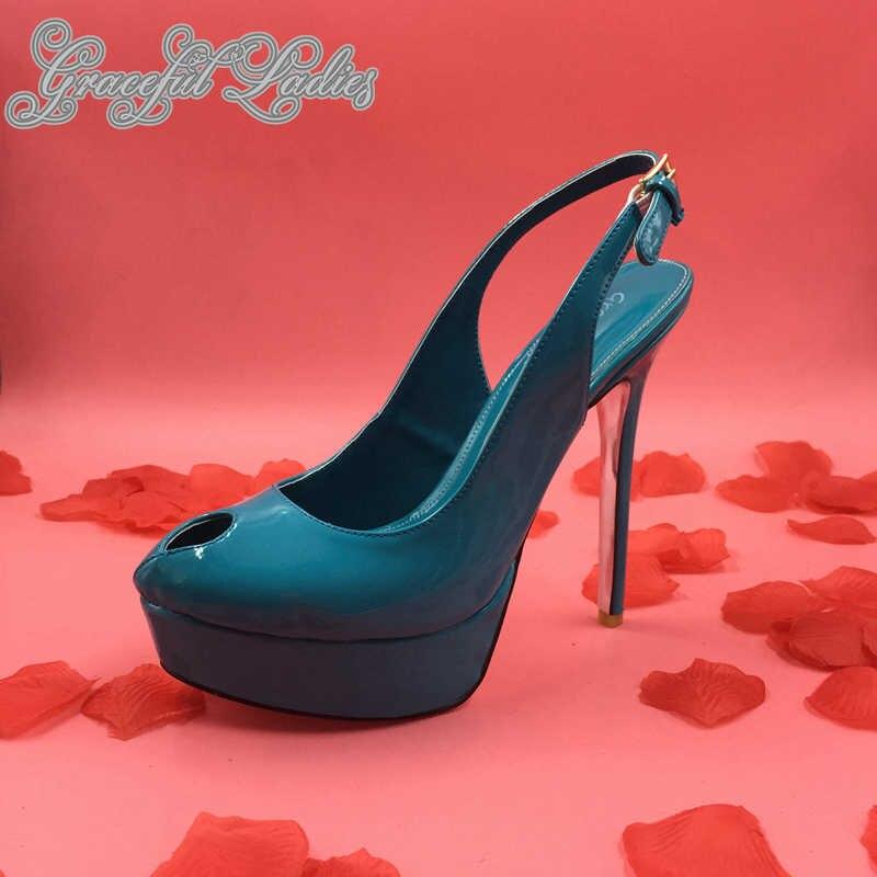 581a3183fcf786 Bleu Vert Peep Toe Femme Mûre Pompes Stilettos Mince Haute Talons Épaissir  Plate-Forme Slip-Sur Bureau Chaussures Grande Taille slingbacks