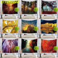 KYYZROZZZ Sunset Maple Leaves Tapestry Wall Hanging Polyester Beach Towels Yoga Mat Picnic Blanket Throw Rug Wall Carpet