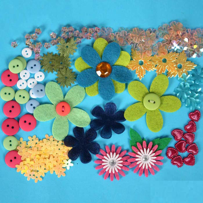 1BOOK/LOT.Felt flower Scrapbook,Fabric scrapbooking kit,Button ...