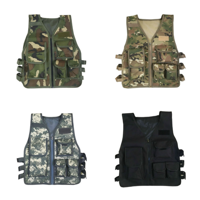 Children Tactics Vest Nylon CS Game Body Armor Vest For Kids Outdoor Camping Combat CS Competition Games Equipment Kid's Jacket