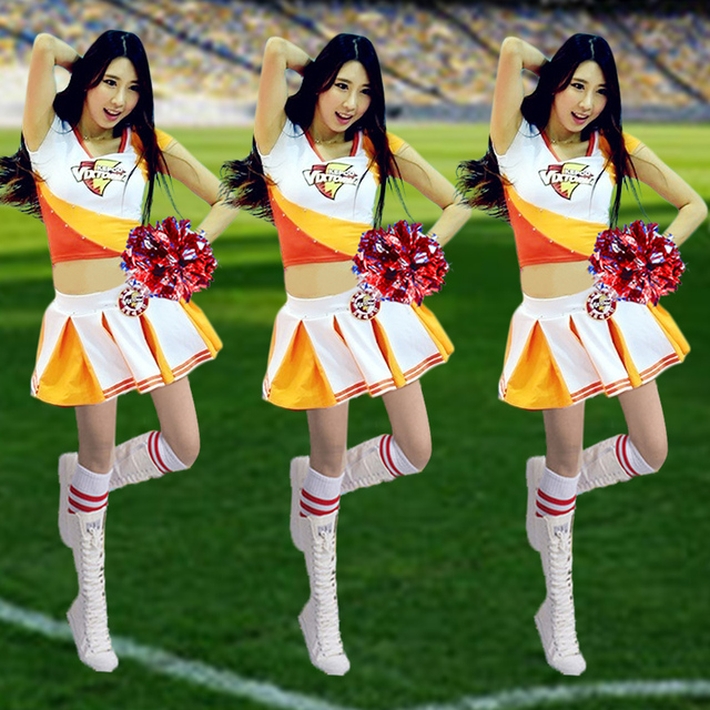 1d764ca39 Sexy football baby Fashion Sexy Cheerleader Costume Women Adult Cheerleading  Party Dress Cheer Uniform Outfit Soccer Girls