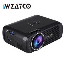 WZATCO envío de la gota Mini Proyector LED 1800 Lúmenes de Cine En Casa TV soporte Full HD 1080 p reproductor Multimedia de Vídeo Hdmi LCD 3D Beamer