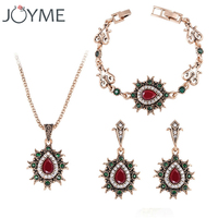 Brand Fine Costume Vintage Wedding Ruby Turkish Jewelry Gold Plated Neclace Jewellery Set Tibet Birthday Gift