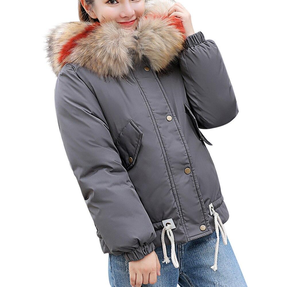 Abrigos mujer invierno 2018 Frauen Mit Kapuze Solide Outwear Warme Mantel Dicker Pelz Kragen Baumwolle Parka Dünne Jacke damen reine parkas