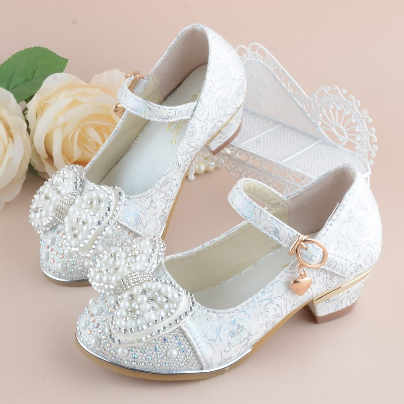 2018 New Kids Shoes For Girl Princess School Shoes For Party And Wedding Flower Children Leather Shoes Fashion High Heel Shoe