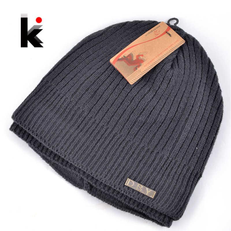 9f7fa3fce2e 2018 Skullies winter balaclava mens designer hat mask knitted wool cap men  beanie plus thick velvet