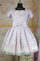 Japanese Short Sleeves Print Cotton Lolita Dress OP Costumes