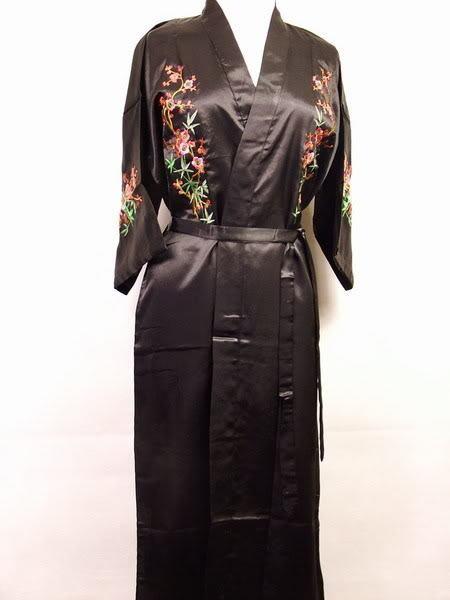 Negro bordado hechos a mano Floral de la señora del traje chino tradicional de seda camisón Kimono Yukata vestido one Size tamaño sml XL XXL XXXL A133