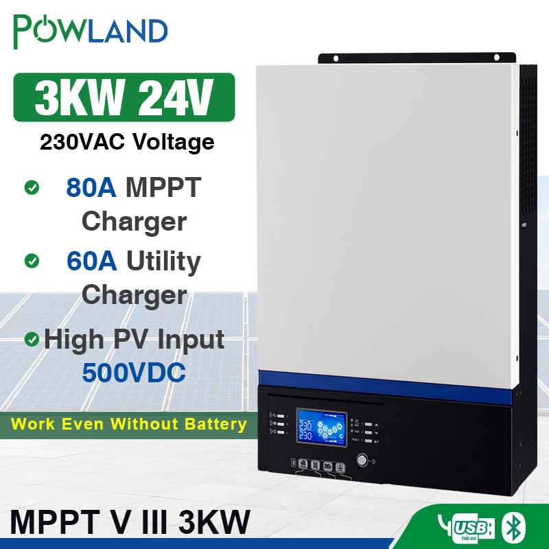 Bluetooth Inverter 3000W 500Vdc PV 230Vac 24Vdc 80A MPPT Solar Charger Support Mobile Monitoring USB LCD