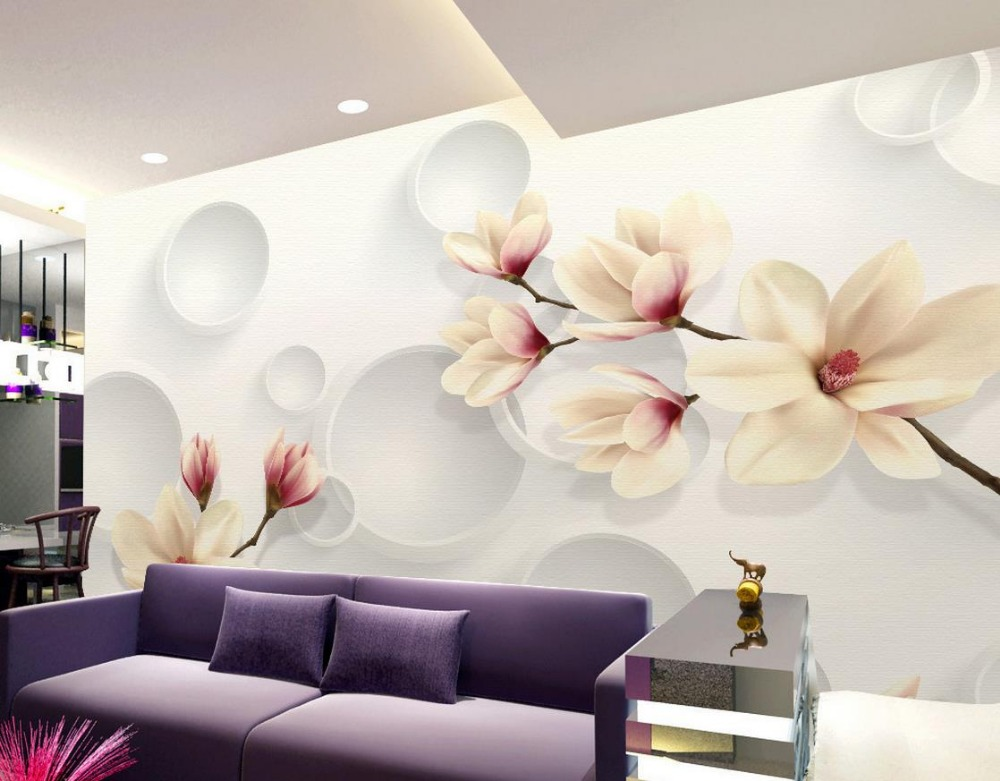 Wallpaper 3d flower orchid garden fashion wall mural photo for Bathroom mural wallpaper