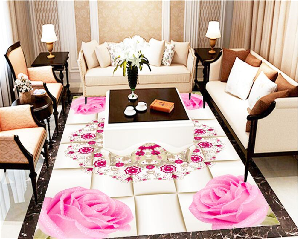 beibehang High-quality fashion personality three-dimensional wall paper 3D lattice floral floor papel de parede 3d wallpaper