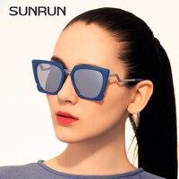 をsunrun高級ファッション夏サングラスの女性のブランドデザイナーサングラス猫の目メガネ女
