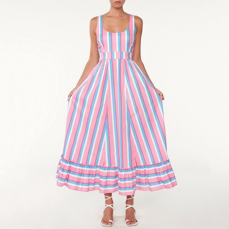 Sans Haute Bustier Robe Sirène Sexy Longue Taille Dames Impression Épaule Dossier Tunique Oxant Robes Off Rayé Pink 2019 Vêtements A34R5qjL