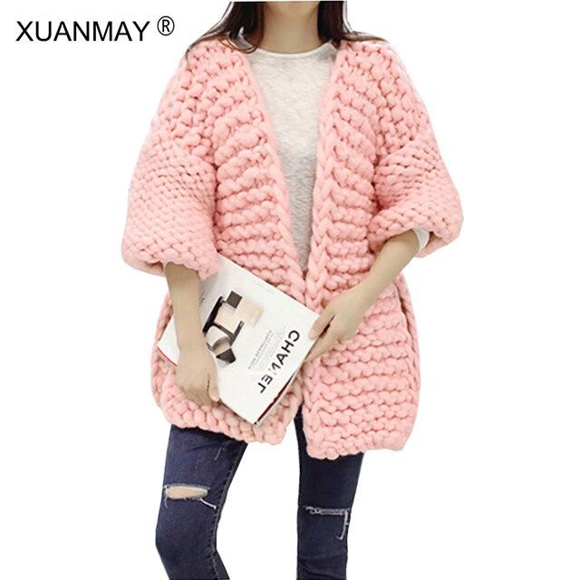 Oversized Sweater Fall Winter Thick warm shawl hand-woven Cardigan sweater  Long section of Large size women Crochet hook Sweater dbaac99b1