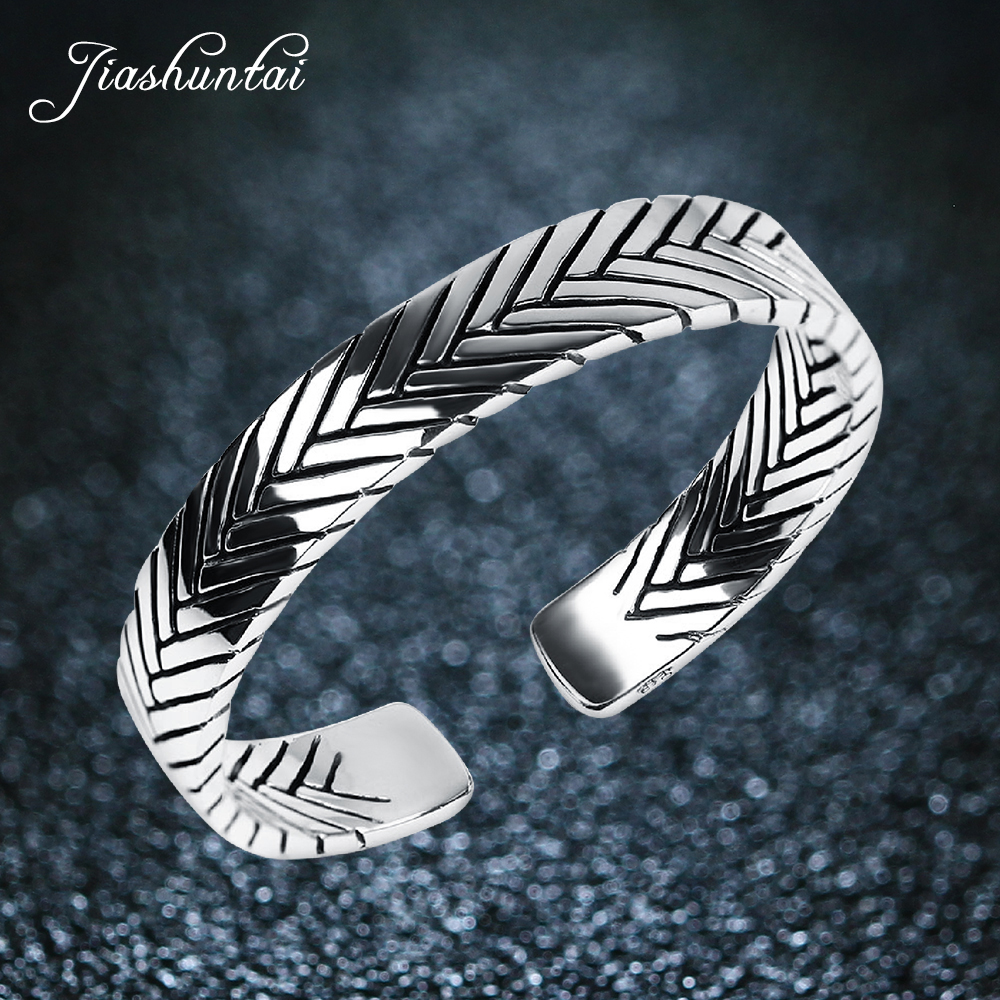JIASHUNTAI Vintage S990 sterling silver bangles HANDMADE fishbone opening bracelets & bangles for men and women jewelry 5.8 CM 1 pcs women lucky red string bracelets men jewelry 100% handmade bangles boho style girls gift