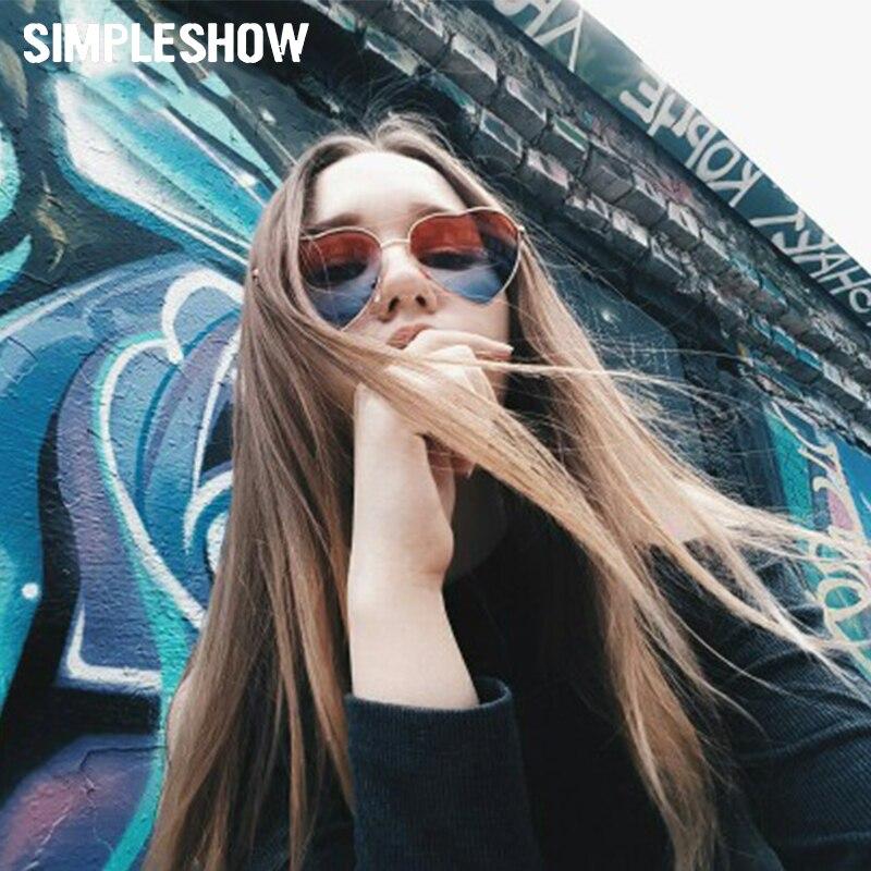 63985da85 SIMPLESHOW نظارة شمس على شكل قلب النساء الإناث نظارات شمسية كلاسيكية كامل  الإطار عاكس نظارات شمسية الرجال التدرج نظارات شمسية ملونة في SIMPLESHOW  نظارة شمس ...