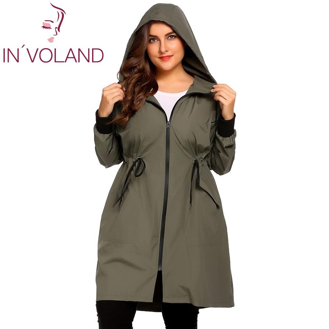 IN'VOLAND Women Raincoat Jacket Plus Size XL-5XL Hooded Long Sleeve Lightweight Waterproof Long Large Raincoat Overcoat Big Size