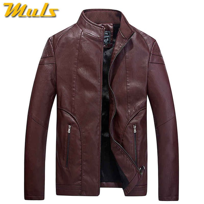 55b09a37f Luxury leather jacket men skin motorcycle stencil Mens fashion brown fitted  jackets red leather clothing coat for man 3XL 15601