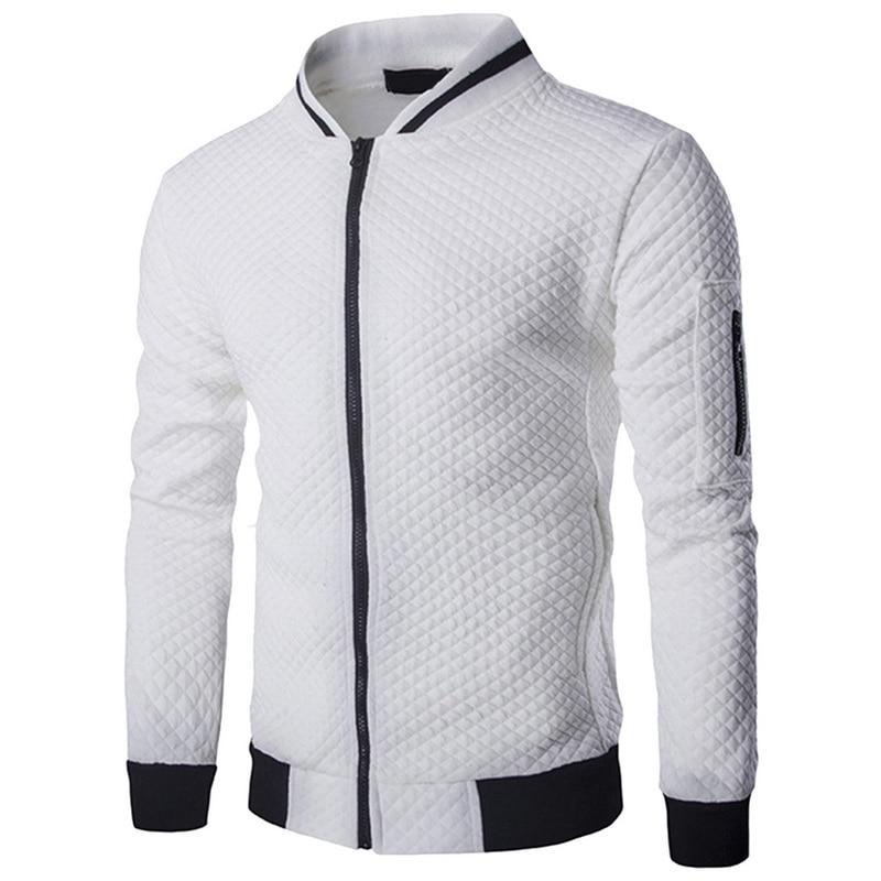 CYSINCOS Men's Veste Homme   Argyle Zipper Jacket Casual Jacket 2019 Autumn New Trend White Fashion Men's Jackets Clothes