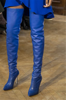2019 Spring Runway Overknee Boots Women Blue Pointed Toe High Heels Catwalk Shoes Woman Black Crotch Thigh High Heeled Boots