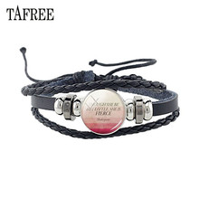 TAFREE Bible Verse Black Leather Bracelet Christian Lettering Glass Dome Bangles Quote Inspirational Jewelry CT577