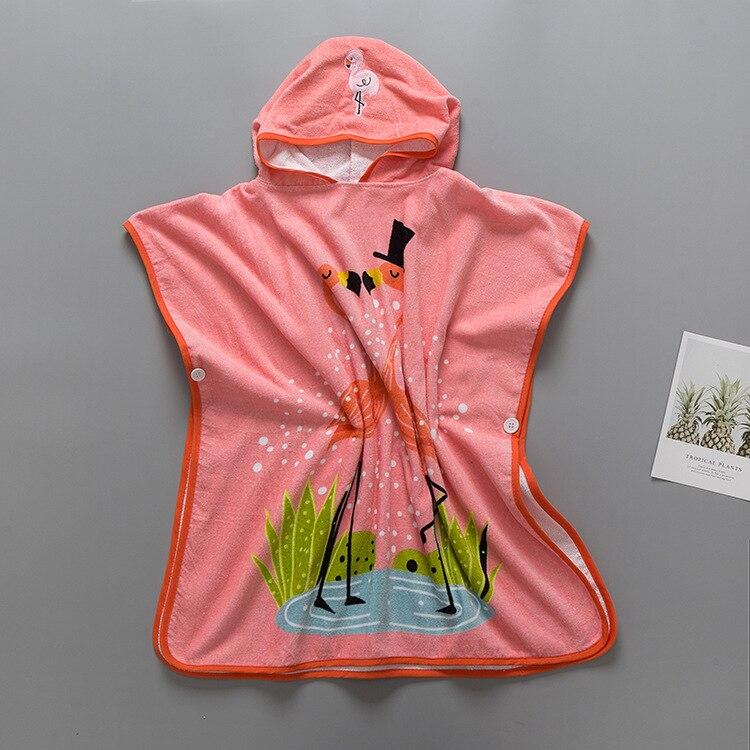 100% Katoen Flamingo Badhanddoek Hoge Kwaliteit Kids Beach Handdoek Voor Baby Hooded Handdoeken Zachte Comfortabele Badkamer 70*140 Cm