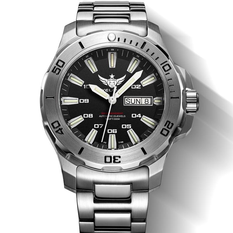 YELANG V5.1 KELPY hommes plongée 300 m étanche T100 Tritium double calendrier automatique mécanique montre-bracelet avec mouvement ETA 2836