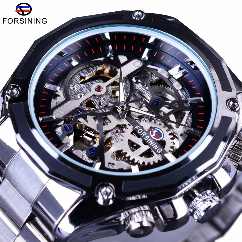 Forsining Mechaniczny Steampunk Fashion Męski Zegarek męski Zegarek Top Brand Luxury Stainless Steel Automatic Skeleton Watch