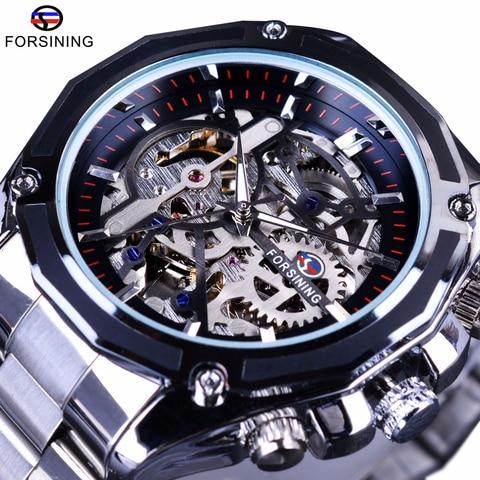 Relógio de Pulso Forsining Steampunk Mecânica Moda Masculina Vestido Masculino Relógio Marca Superior Luxo Aço Inoxidável Automático Esqueleto