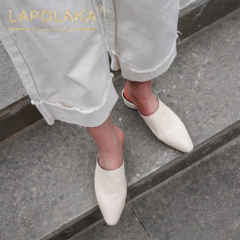 Lapolaka Nouveautés offre spéciale grande taille 33-40 Vache En Cuir Talons Carrés Femmes Pompes mules Femme escarpins décontractés