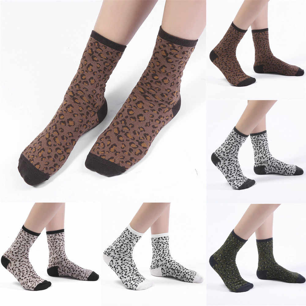 KANCOOLD 2018 Autumn Winter Personality Neutral Socks Cotton Leopard Print Color Chaussette Femme Winter Warmly Meias PJ1023