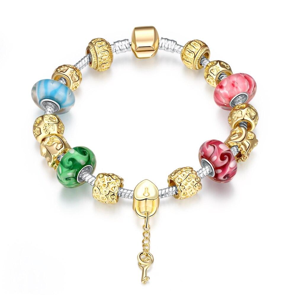 384adcc169e6 Único brillante Cuentas mysterious vintage clave colgante pulseras  brazaletes plata 925 h017 Navidad regalo estilos del verano a estrenar