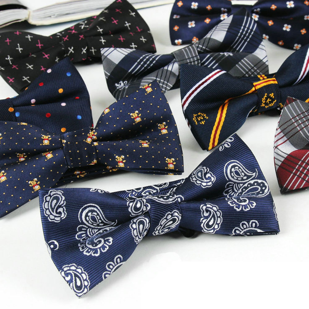 Men Polyester Camo font b Tartan b font Grids Paisley Flowers Polka Dots Bow Ties TSBWT0018