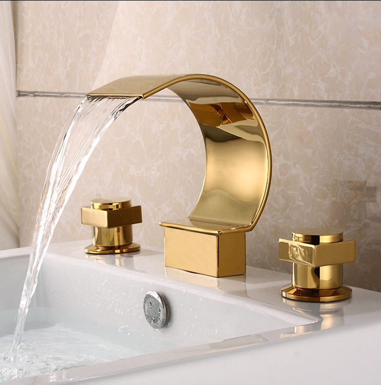 Gold Polished Waterfall Bathroom Sink Faucet Widespread 3 Holes Basin Mixer Tap цена