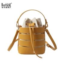 BRIGGS Fashion Drawstring Bucket Bag For Women 2019 Mini PU Leather Crossbody Bags Ladies Shoulder Bags Female Handbags Sac Main