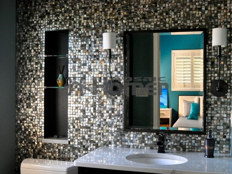 Buy black mother of pearl tiles luxury for Panneau revetement mural salle de bain
