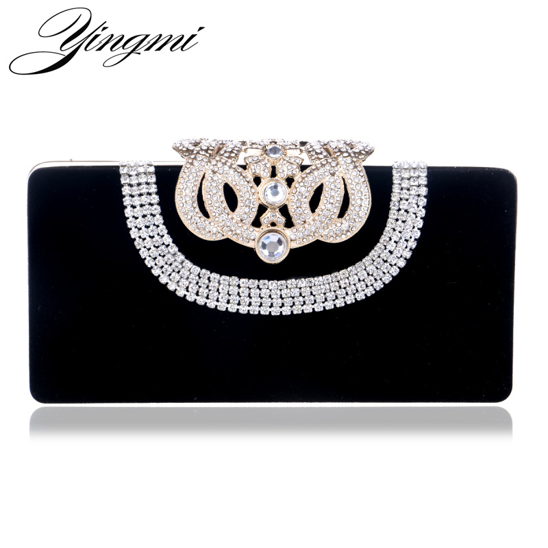 YINGMI Diamonds U Shaped Women Evening Bags Mini Crown Metal Crystal Evening Clutch Bag With Chain Shoulder Messenger Handbags luxury crystal clutch bags uk hot sale pillow shaped white pearl clutch handbags for cheap women crystal evening bag with chain
