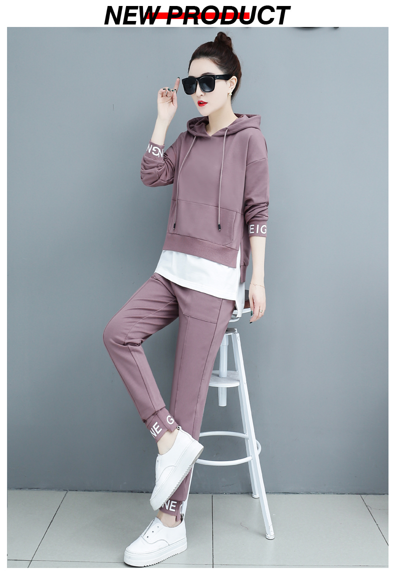 Autumn Sport Two Piece Sets Tracksuits Outfits Women Plus Size Hooded Sweatshirts And Pants Korean Casual Fashion Matching Sets 61