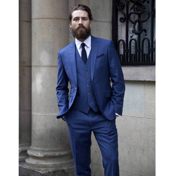 Custom Made Royal Blue Men Suits Terno Slim Fit 3 Pieces Skinny Tailor Suits Groom Tuxedos Prom Suits Blazer (Jacket+Pant+Vest)